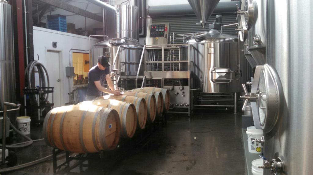 Barrel aging at Wander Brewery in Bellingham