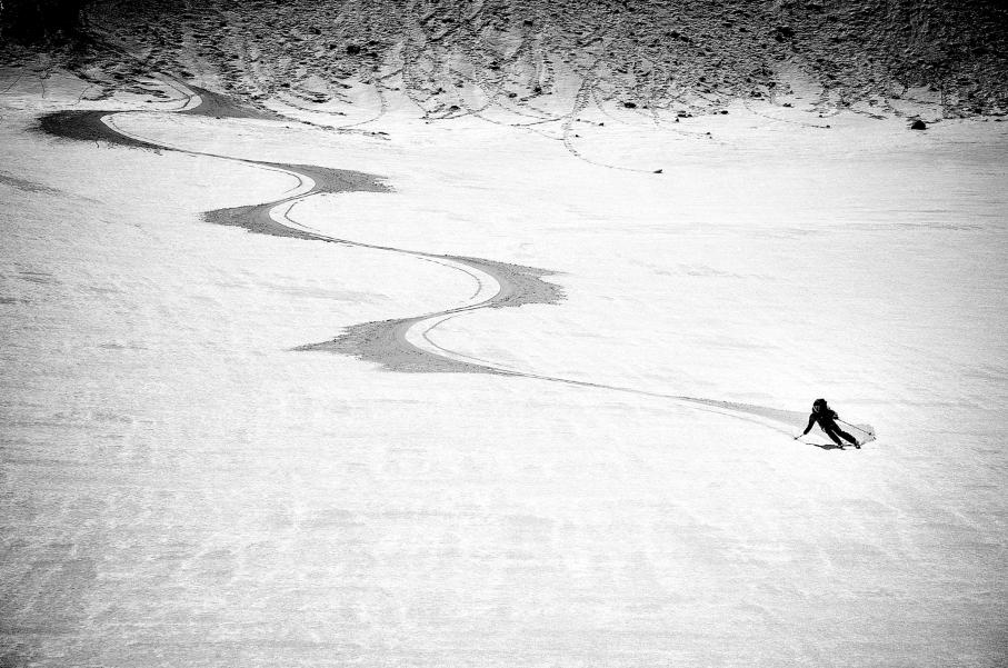 Corn snow turns on Mt. Rainier. Jason Hummel photo.