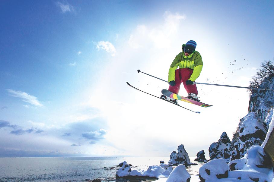 Airing onto a snowy Japanese beach. Jason Hummel photo.