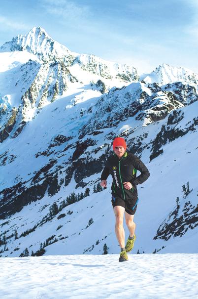 Tyler Mitchell trail running below Mt. Shuksan. Tyler Mitchell photo.