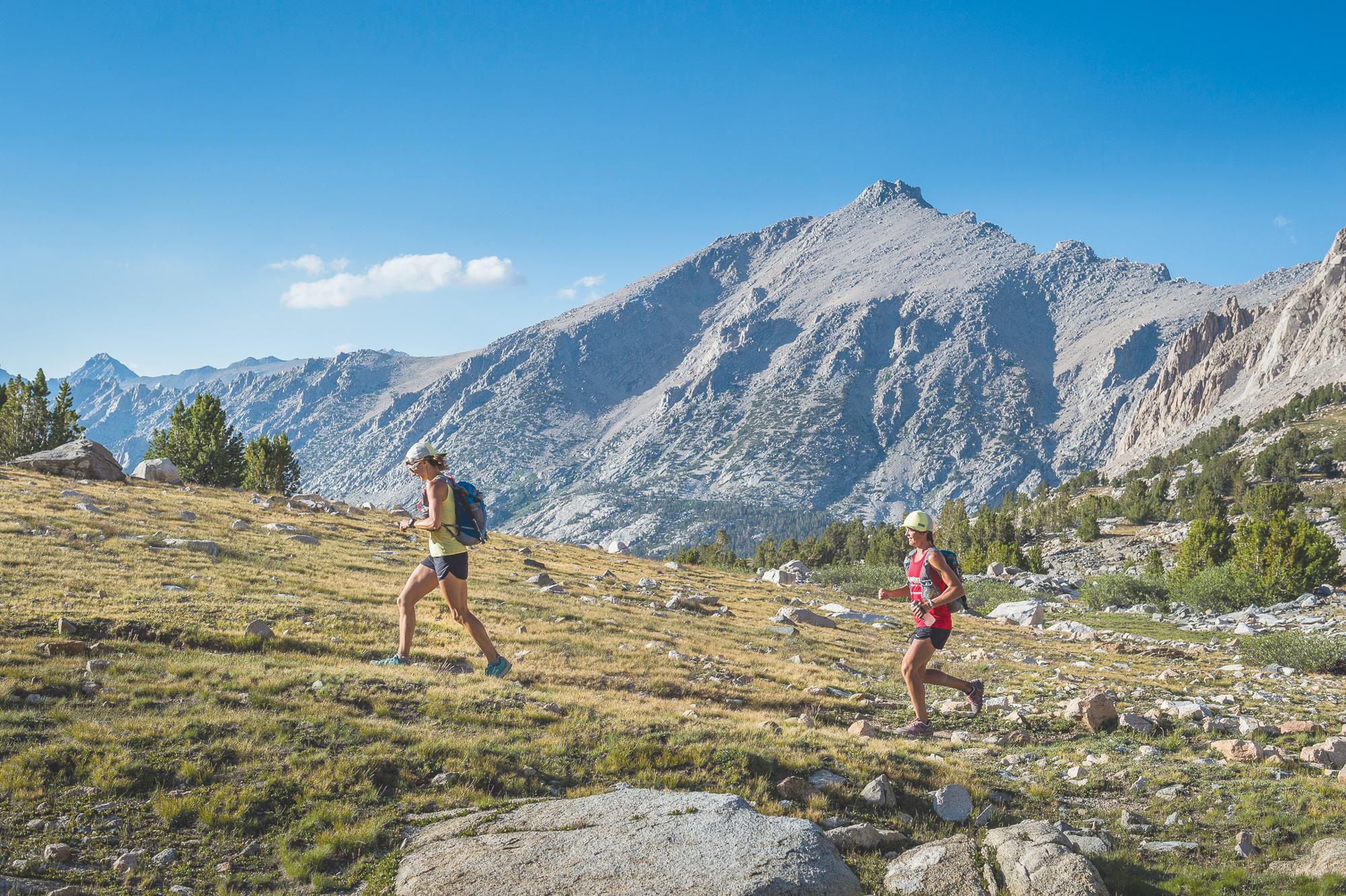Krissy Moehl, left, running with Jenn Shelton on the John Muir Trail in 2013. Ken Etzel photo.