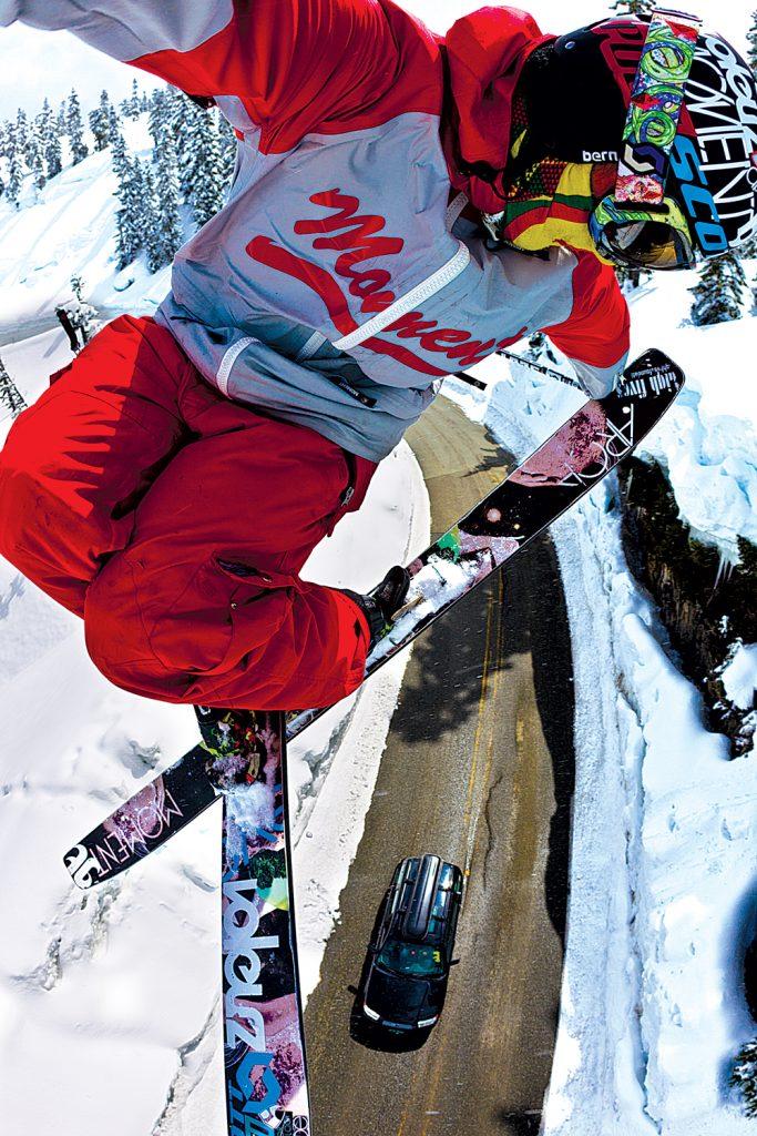 KC Deane spinning over the Mt. Baker road gap. Grant Gunderson photo.